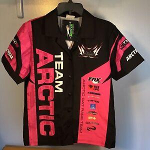 "NEW ""Arctic Cat Racing Team"" Button-Up Large Pink Shirt -Snowmobile Arcticwear-"