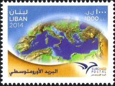 Lebanon 2014 Euromed Postal stamp MNH The First Mediterranean Union stamp