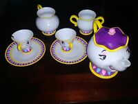Disney Store Beauty and the Beast MRS POTTS & CHIP Play Tea Set w/ Plates Cups