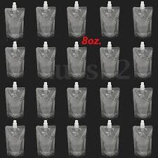 20Pcs 250ML/8Oz Clear Spout Bags Stand Up Bag Liquid Bag Flask Pouch With Cap