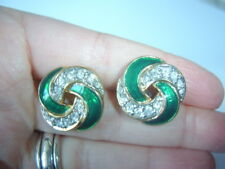 Vintage Emerald Green Enamel & Crystal Diamante Twist Knot 18mm Stud Earrings