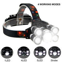 80000LM 5-LED Zoomable LED Rechargeable T6 Headlamp Light Head Torch Flashlights