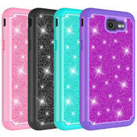 For Samsung Galaxy J7 Prime J727T Glitter Case Hard Silicone Hybrid Phone Cover
