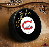 GUY LAPOINTE Signed & Inscribed Montreal Canadiens Puck