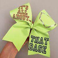 Its All About That Base Neon Yellow Softball Bow Holographic Spandex Cheer