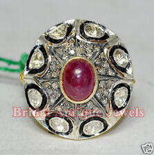 2.93cts SINGLE/ANTIQUE CUT DIAMOND RUBY VICTORIAN LOOK WEDDING 925 SILVER RING
