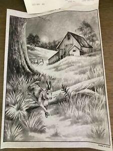 vintage tri chem picture to paint 8986 farm scene rabbit 9.5 x 13