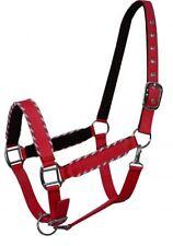Showman RED Nylon Neoprene Lined Horse Halter W/ Rope Border Design! HORSE TACK!