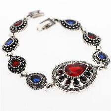 Teardrop Luxury Vintage Style Ruby Red Royal Blue Antique Silver Bracelet BB188