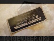 plate plaque radio us ww2 BC659 J ALU jeep