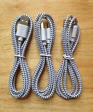 3x pcs 3ft 1M Lot WHITE Braided MicroUSB Charger Cable for DROID Samsung HTC LG