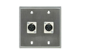 2 gang wall plate loaded with 2 female 3 pin xlr panel wired, 2 male tails 25ft