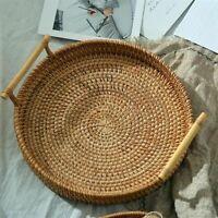 Handwoven Rattan Round Severing Tray Food Storage Platters Handles Breakfast