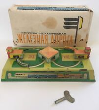 Vintage Russian Wind Up Tin Toy Train Station City Track Roller Coaster Lmz Box