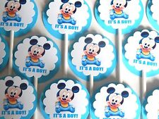 30 BABY MICKEY MOUSE IT'S A  BOY Cupcake Toppers Party Favors, Baby Shower 30