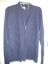 Haband Men's Navy Blue with Gray Trim Size S Small Sweater Zip Front acrylic