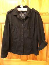 LANDS' END 100% Cotton Black Front Button Shirt - Women's Size 16