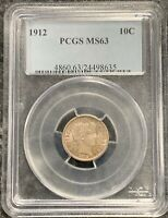 1912-P U.S. SILVER BARBER DIME! PCGS GRADED MS63! $2.95 MAX SHIPPING!