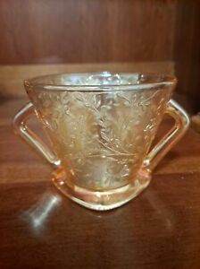 Vintage Peach Iridescent Open Sugar Bowl Double Handled Floral Pattern