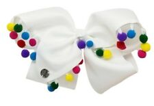 New Jojo Siwa Large White Bow 🎀🌈 Rainbow Multicolor Fuzzy Pom Poms