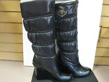 G By Guess black multi fabric knee high boots, size10