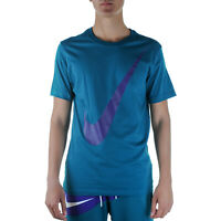 Nike SS Tee Swoosh 1 T-Shirt Uomo BV7645 381 Geode Teal Court Purple