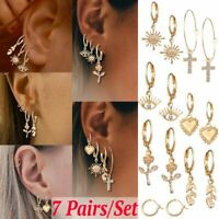 7 Pairs/Set Boho Circle Earrings Ear Clip Crystal Cross Leaf Heart Stud Jewelry