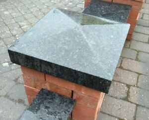 Black Pier Caps, 100% Natural Granite, 1.5 Brick Pillar, 360x360mm, Collected