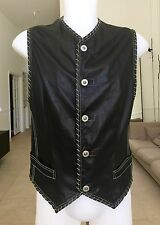GIANNI VERSACE leather vest with chain stitch detail Italian size 50 from 1993