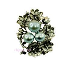 Vintage Style Simulated Black Pearl Brooch Pin w  CZ flower for Bridal  Wedding 1e828cf71c3b