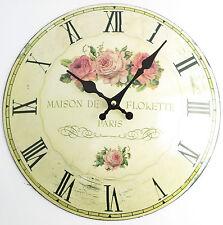 Wanduhr Rosen 2 Nostalgie Shabby Chic Rose Metall gewölbtes Blech Landhausstil