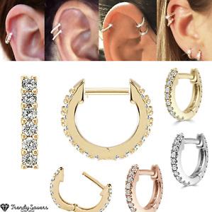 Women's 18K Gold Plated Cubic Zirconia Gold Silver Cuff Earrings Huggie Stud