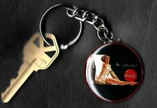 Coca-Cola Beautiful Girl Advertisement COKE Keychain Key Chain 1950's Beach