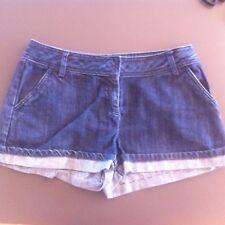 Ladies CHARLIE BROWN Dark Blue Denim Shorts Size 12 Roll Up Short
