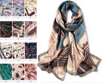 100% Silk Satin Women Scarf neckerchief Shawl Wrap ladies brown blue S287-005