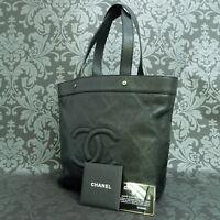 Rise-on CHANEL Calf Leather Black Punching Tote bag Shoulder bag Hand bag #1644