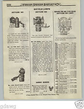 1919 PAPER AD 2 PG Acetylene Gas Bicycle Lamp Search Light Solar Old Sol Repair