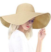 DAFUNNA Chapeau de Paille Femme Capeline Plage Anti-UV Bord Large Pliable Chapea