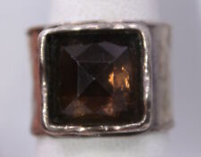 SIZE 8 ~ Vintage SILPADA Hammered Brown Smoky Quartz Sterling Silver Ring R1453