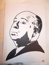 A4 Black Ink Marker Pen Sketch Movie Director Alfred Hitchcock A
