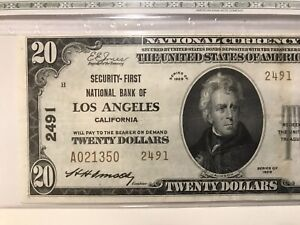1929 $20 TYPE 2 NATIONAL BANKNOTE CH 2491 GRADED VF-25