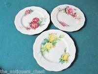 "Roslyn England Fashion Roses 3 cake/bread floral plates, 6 1/4"" diam[*94]"