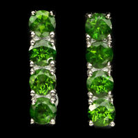 Round 4mm Top Rich Green Chrome Diopside Unheated 925 Sterling Silver Earrings