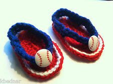 BABY SANDALS FLIP FLOPS SHOES CROCHET Size 3-6 Months Red & Royal Blue Baseball