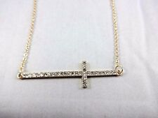 Sideways Cross Necklace Horizontal Gold Base Metal Crystals 16 Inch Chain Fresh
