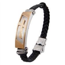 Stylish Men Stainless Steel Black Braided Bracelet w/ Christian Cross Jewelry