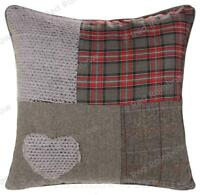 Patchwork Tartan Heart 18 inch / 45 cm Red & Grey Cushion Cover Tweed / Wool