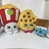 Lot 3 Shopkins Kooky Cookie Popcorn & Chocolate Bar Plush Toy Stuffed Pillows