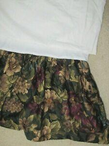 RALPH LAUREN EDGEFIELD FLORAL dark Green Floral bed skirt dust ruffle Queen