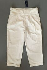 Polo Ralph Lauren Women's Cotton Wide Leg Cropped Pants Deckwash White W32